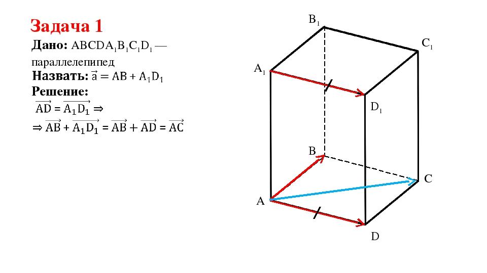 Задача 1 Дано: ABCDA1B1C1D1 —параллелепипед Решение: A B C D A1 B1 C1 D1
