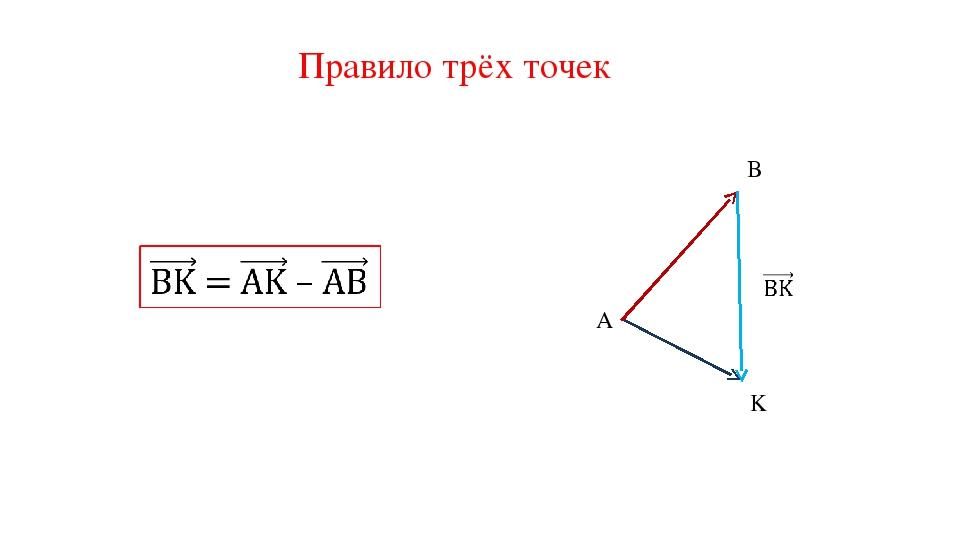 Правило трёх точек A B K