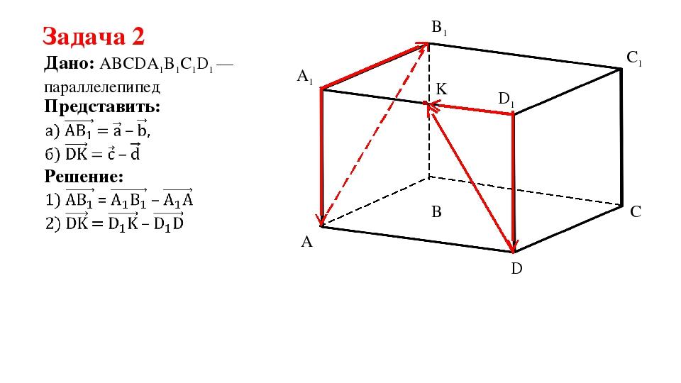 Задача 2 Дано: ABCDA1B1C1D1 —параллелепипед Представить: Решение: A B C D A1...