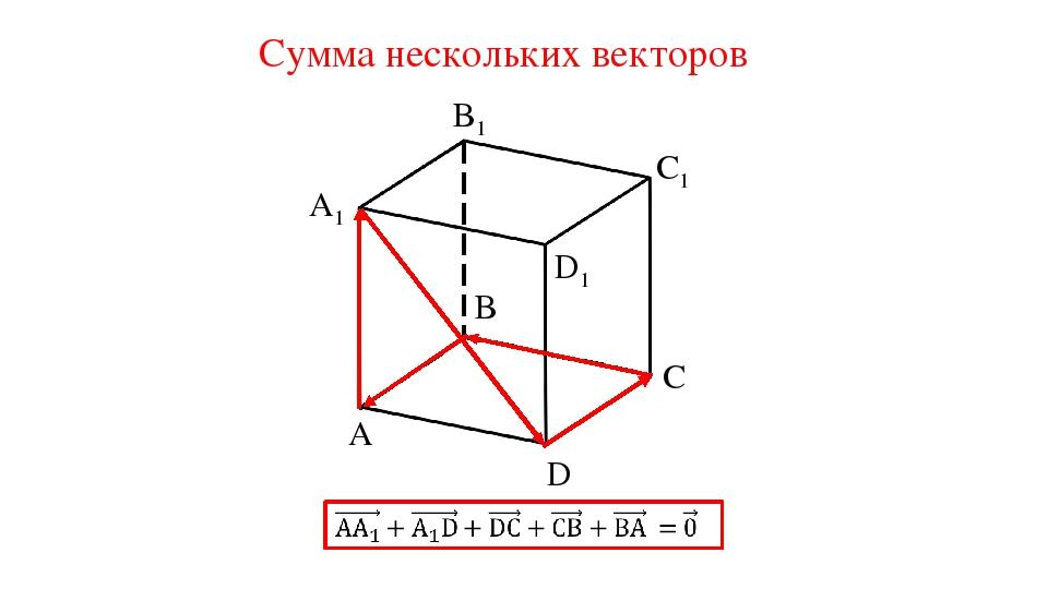 Сумма нескольких векторов A A1 C1 C D B B1 D1