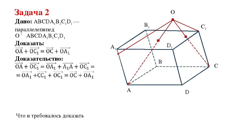 Задача 2 Дано: ABCDA1B1C1D1 —параллелепипед Доказать: Доказательство: O ∉ ABC...