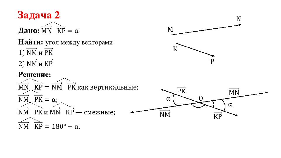 Задача 2 Найти: угол между векторами Решение: