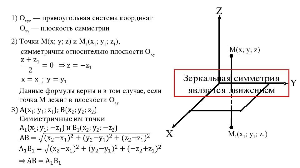 Z X Y M1(x1; y1; z1) М(x; y; z) 1) Оxyz — прямоугольная система координат Оxy...