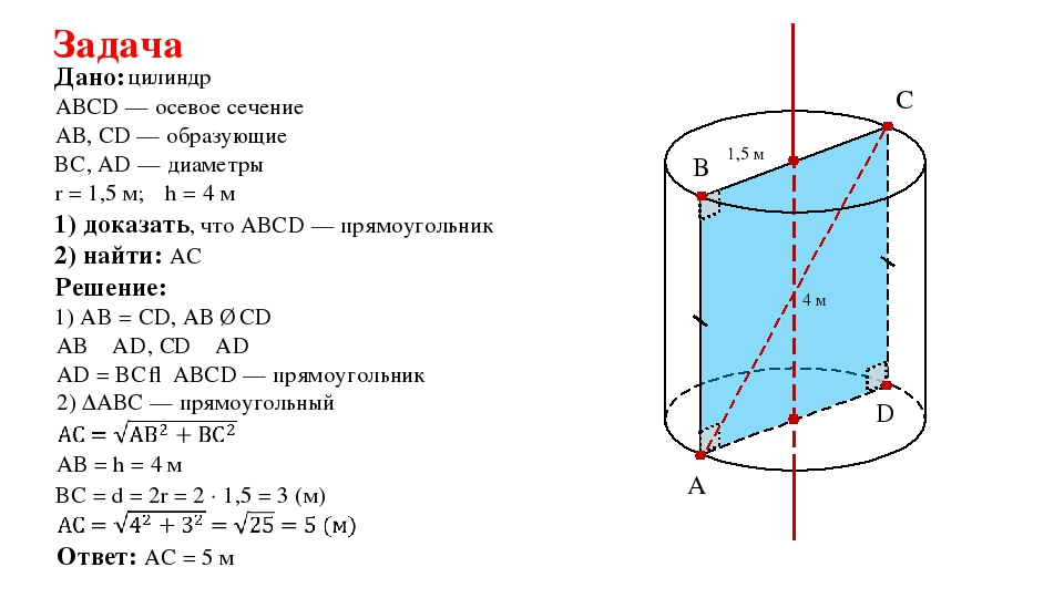 Задача цилиндр Дано: АВ, CD — образующие Решение: 1) АB = CD, АВ ∥ CD АВСD —...