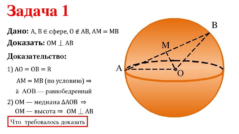 B O M A Доказательство: Задача 1 △АОВ — равнобедренный Что требовалось доказать
