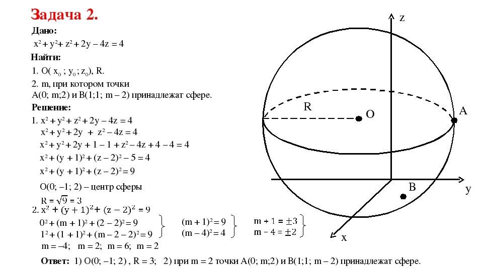 y x z R O Задача 2. Дано: x2 + y2+ z2 + 2y – 4z = 4 Найти: 1. О( x0 ; y0 ; z0...