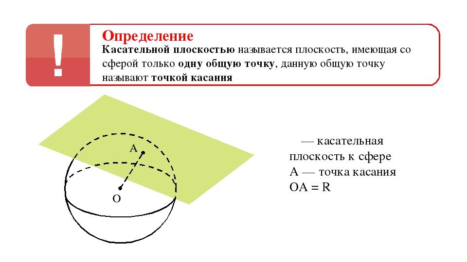 Определение Касательной плоскостью называется плоскость, имеющая со сферой то...