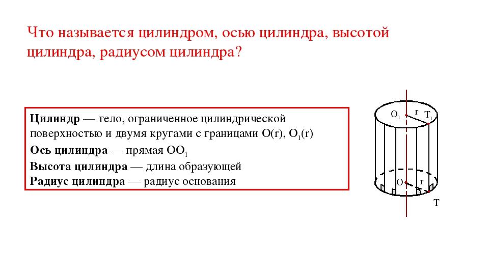 Что называется цилиндром, осью цилиндра, высотой цилиндра, радиусом цилиндра?...