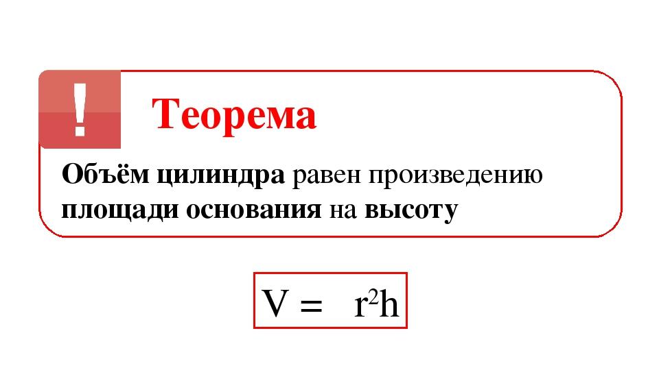 Теорема Объём цилиндра равен произведению площади основания на высоту V = πr2h
