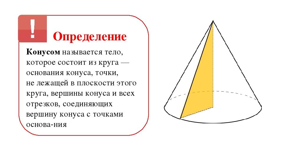 Определение Конусом называется тело, которое состоит из круга — основания кон...