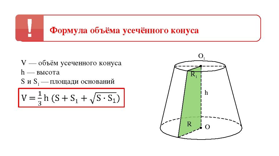 Формула объёма усечённого конуса V — объём усеченного конуса h — высота S и S...