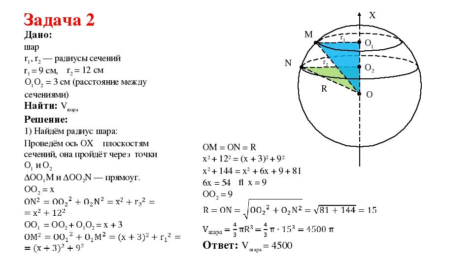 Задача на нахождение объема шара с решением решение задач integer