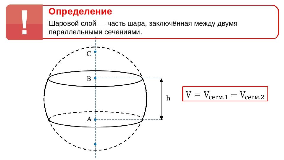 A B C Определение Шаровой слой — часть шара, заключённая между двумя паралл...