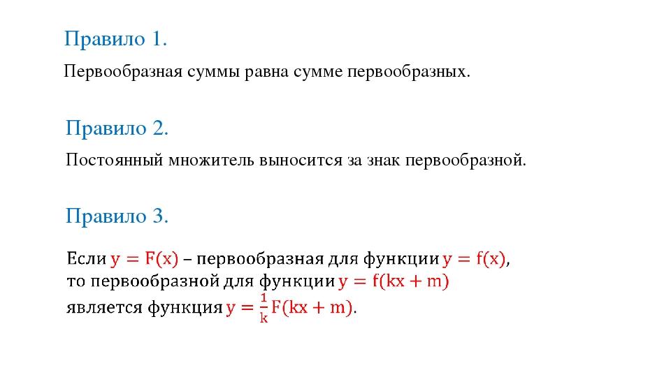 Первообразная суммы равна сумме первообразных. Правило 1. Постоянный множител...