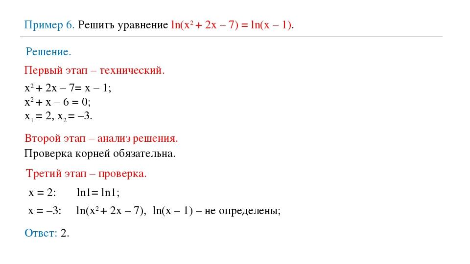 Пример 6. Решить уравнение ln(х2 + 2х – 7) = ln(х – 1). Решение. Ответ: 2. Пе...