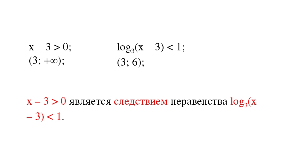 х – 3 > 0; (3; +∞); log3(х – 3) < 1; (3; 6); х – 3 > 0 является следствием не...