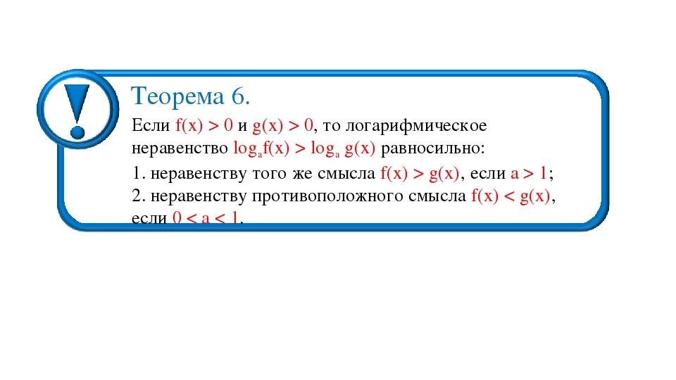 Если f(х) > 0 и g(х) > 0, то логарифмическое неравенство logаf(х) > logа g(х)...