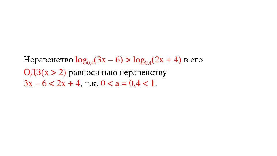 Неравенство log0,4(3х – 6) > log0,4(2х + 4) в его ОДЗ(х > 2) равносильно нера...