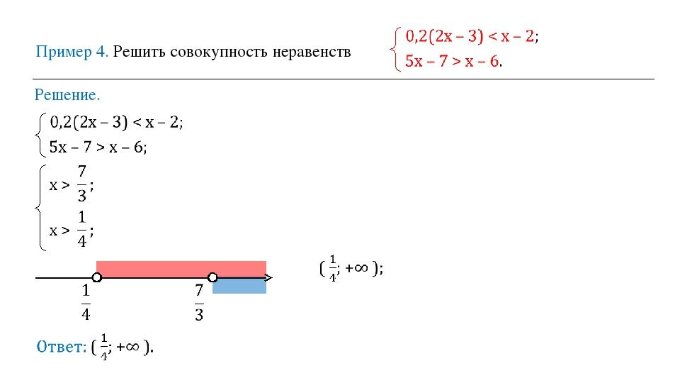 Пример 4. Решить совокупность неравенств Решение.