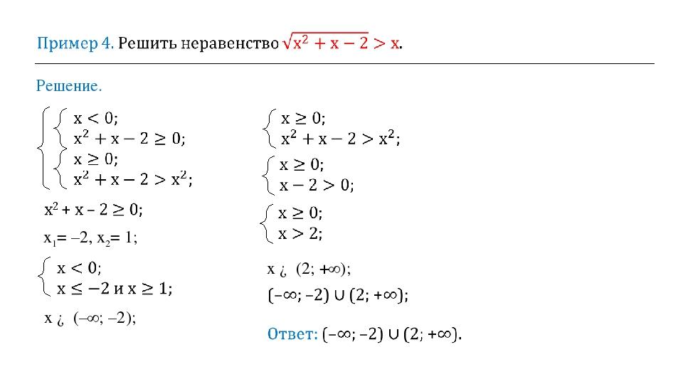Решение. х ∈ (2; +∞); х ∈ (–∞; –2); х1= –2, х2= 1;
