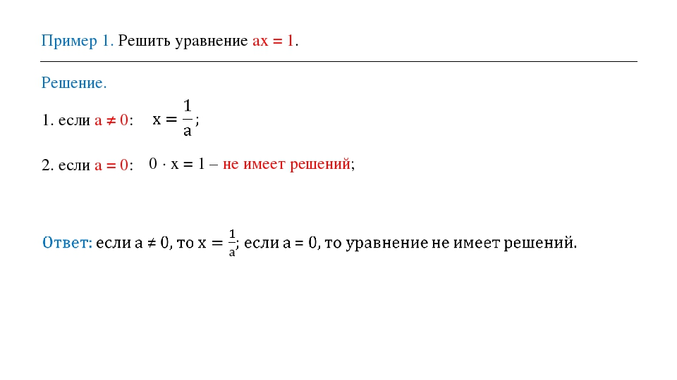 Пример 1. Решить уравнение ax = 1. Решение. 1. если a ≠ 0: 2. если a = 0: 0 ·...