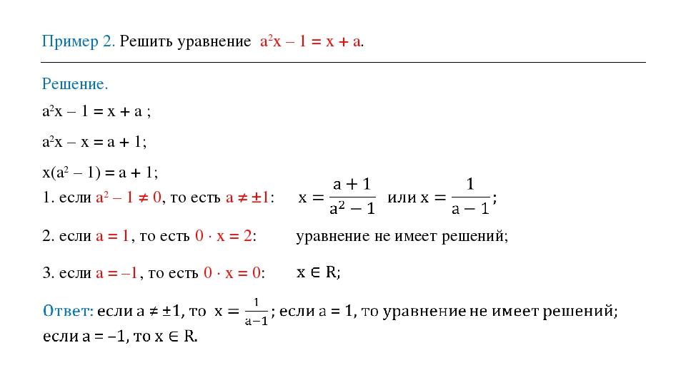Пример 2. Решить уравнение a2x – 1 = x + a. Решение. a2x – 1 = x + a ; a2x –...