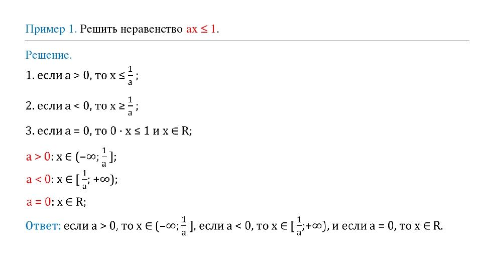 Пример 1. Решить неравенство ах ≤ 1. Решение.