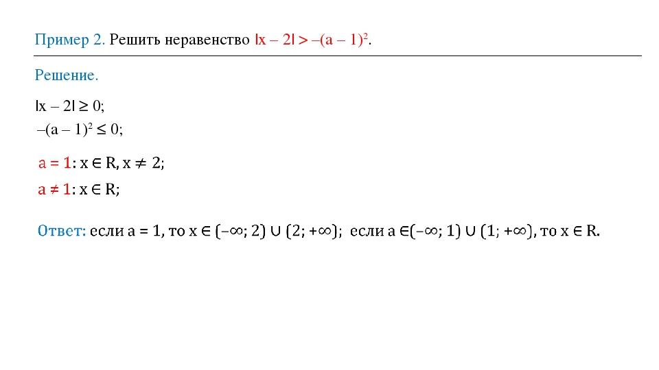 Пример 2. Решить неравенство |x – 2| > –(a – 1)2. Решение. |x – 2| ≥ 0; –(a –...