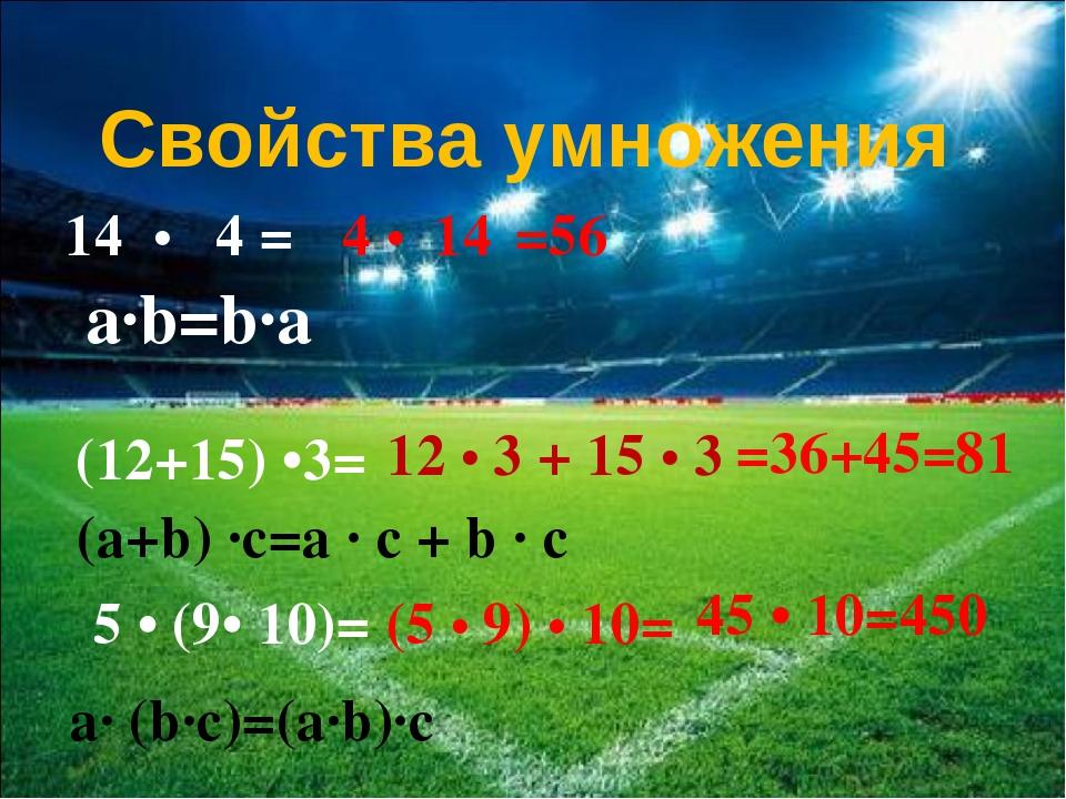 14 • 4 = 4 • 14 Свойства умножения a∙b=b∙a (12+15) •3= 12 • 3 + 15 • 3 =56 =3...