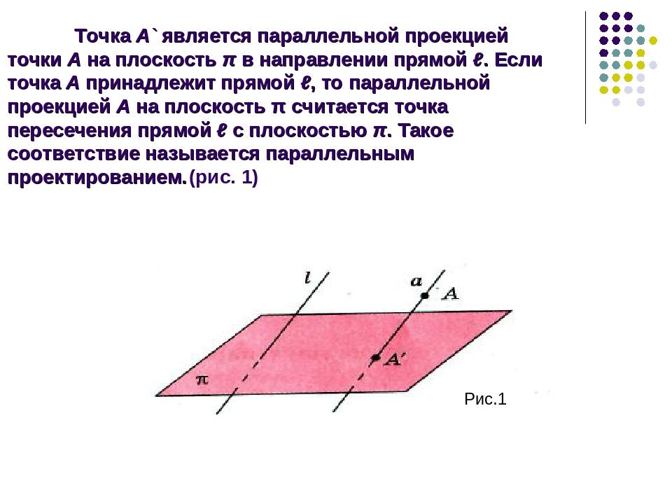 Точка А` является параллельной проекцией точки А на плоскость π в направлении...