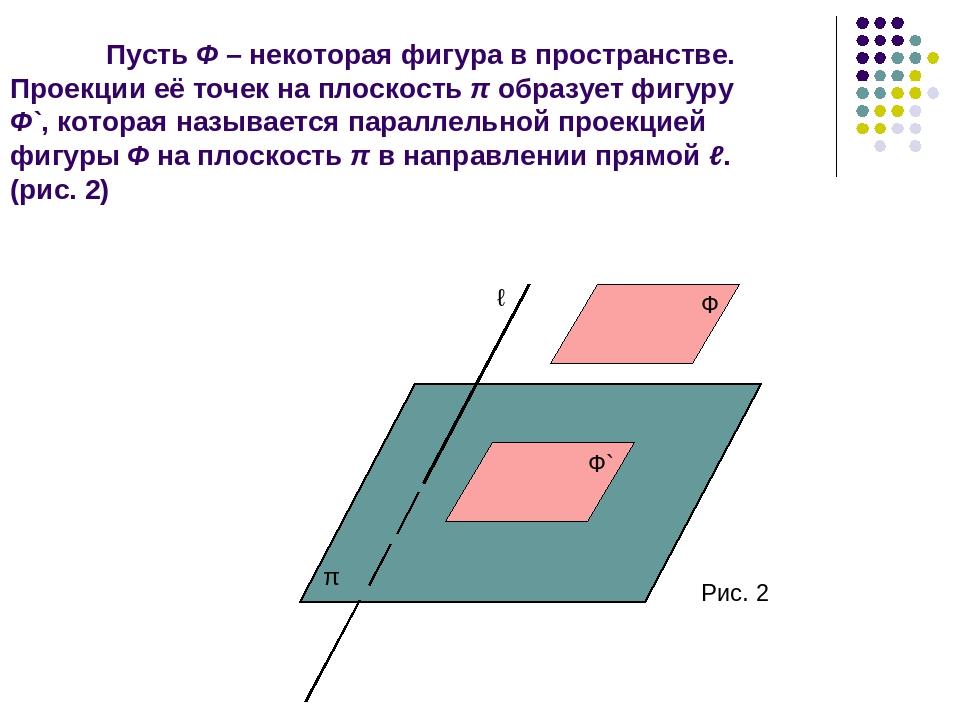 Пусть Ф – некоторая фигура в пространстве. Проекции её точек на плоскость π о...