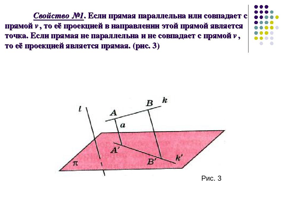 Свойство №1. Если прямая параллельна или совпадает с прямой ℓ, то её проекцие...