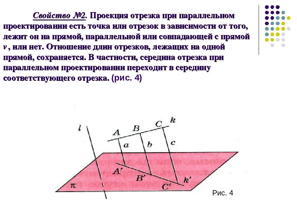 Свойство №2. Проекция отрезка при параллельном проектировании есть точка или...