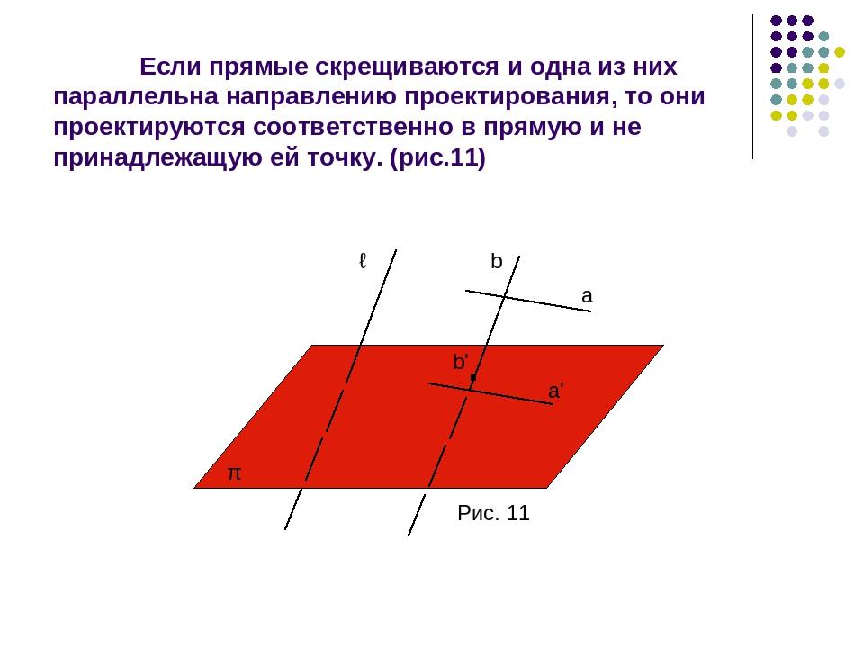 Если прямые скрещиваются и одна из них параллельна направлению проектирования...