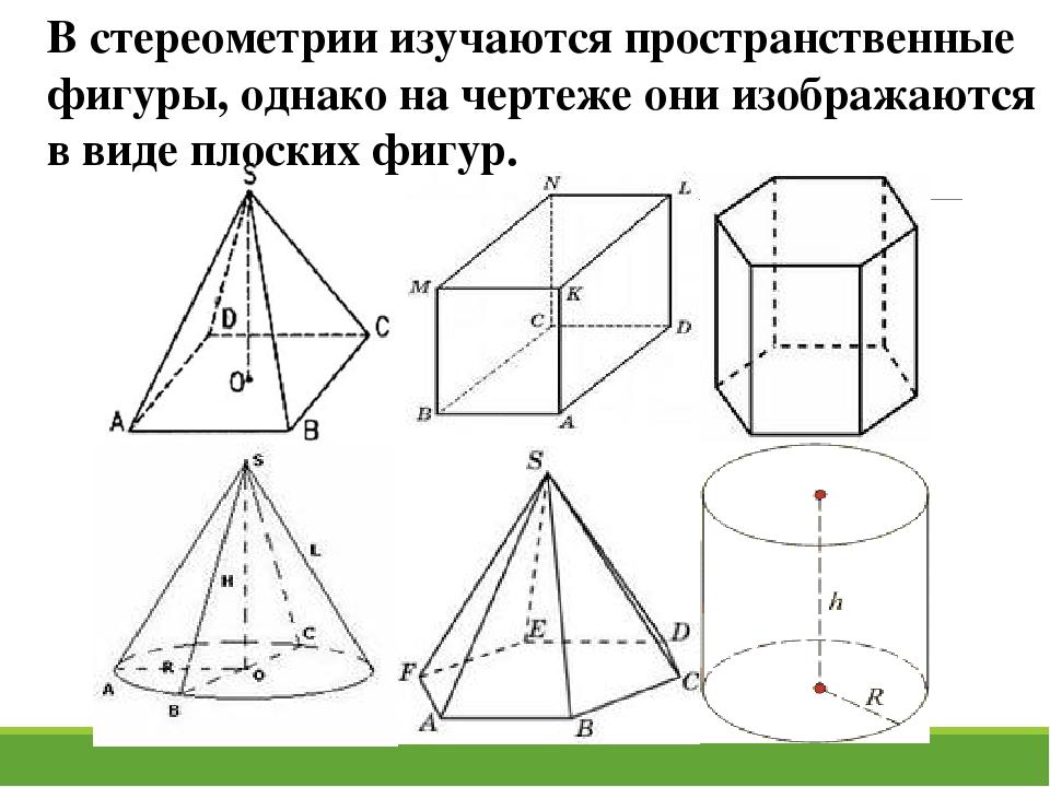 В стереометрии изучаются пространственные фигуры, однако на чертеже они изобр...