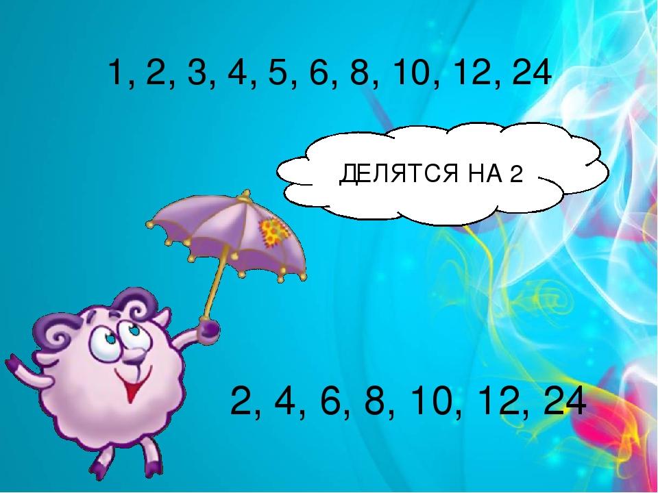 1, 2, 3, 4, 5, 6, 8, 10, 12, 24 2, 4, 6, 8, 10, 12, 24 ДЕЛЯТСЯ НА 2