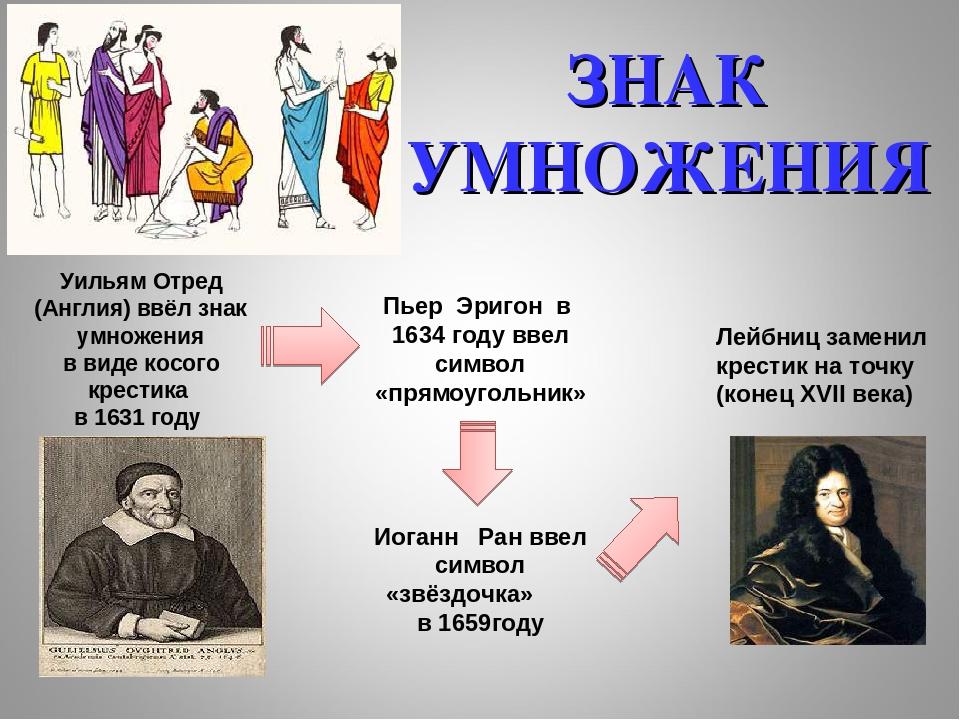 Уильям Отред (Англия) ввёл знак умножения в виде косого крестика в 1631 году...