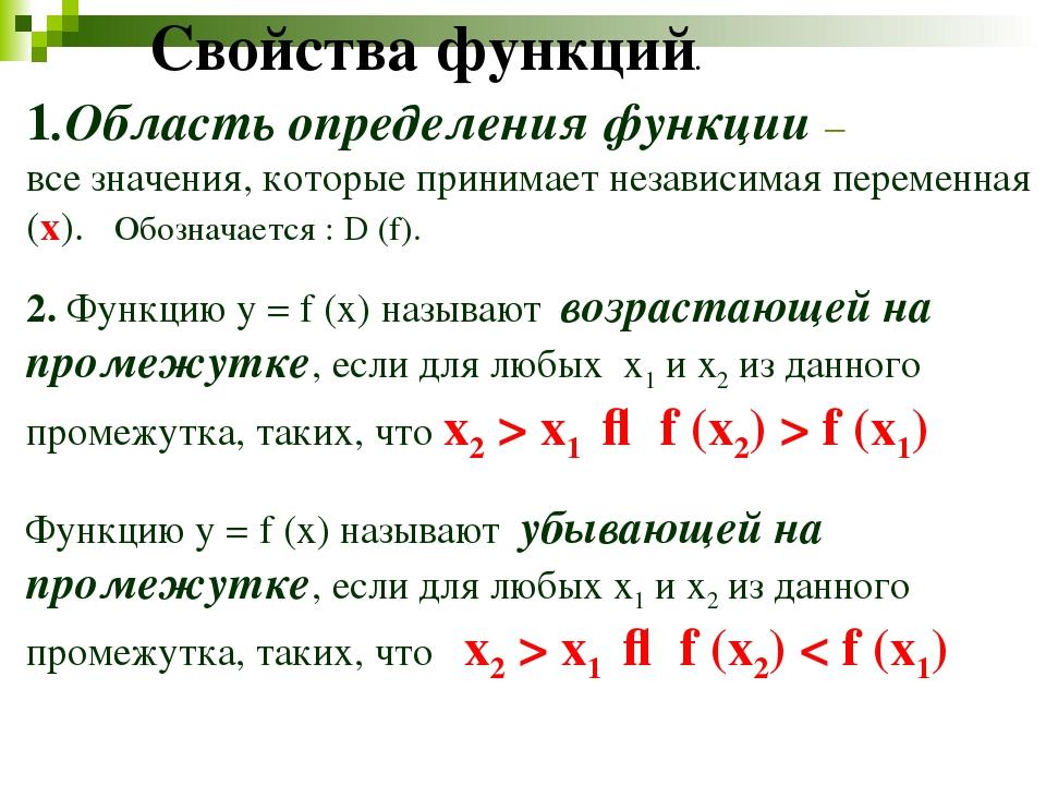 1.Область определения функции – все значения, которые принимает независимая п...