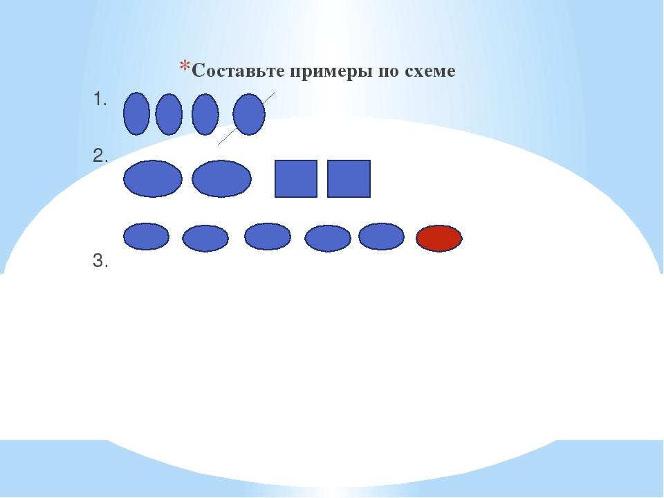 Составьте примеры по схеме 1. 2. 3.
