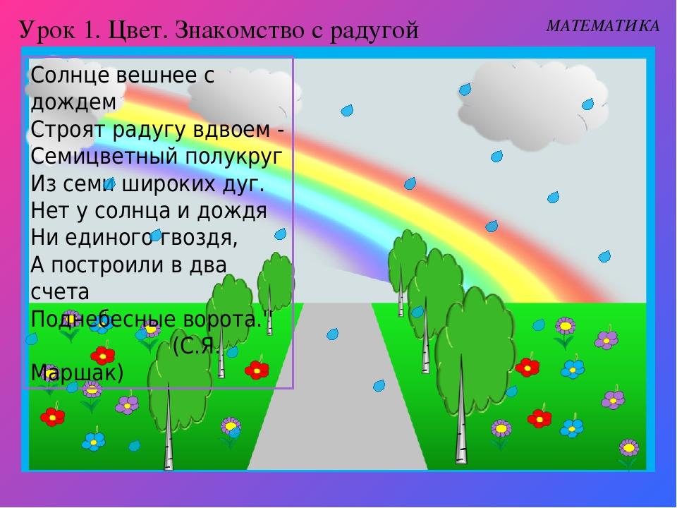 Урок 1. Цвет. Знакомство с радугой МАТЕМАТИКА Солнце вешнее с дождем Строят р...