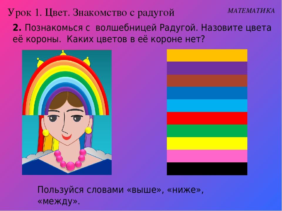 2. Познакомься с волшебницей Радугой. Назовите цвета её короны. Каких цветов...