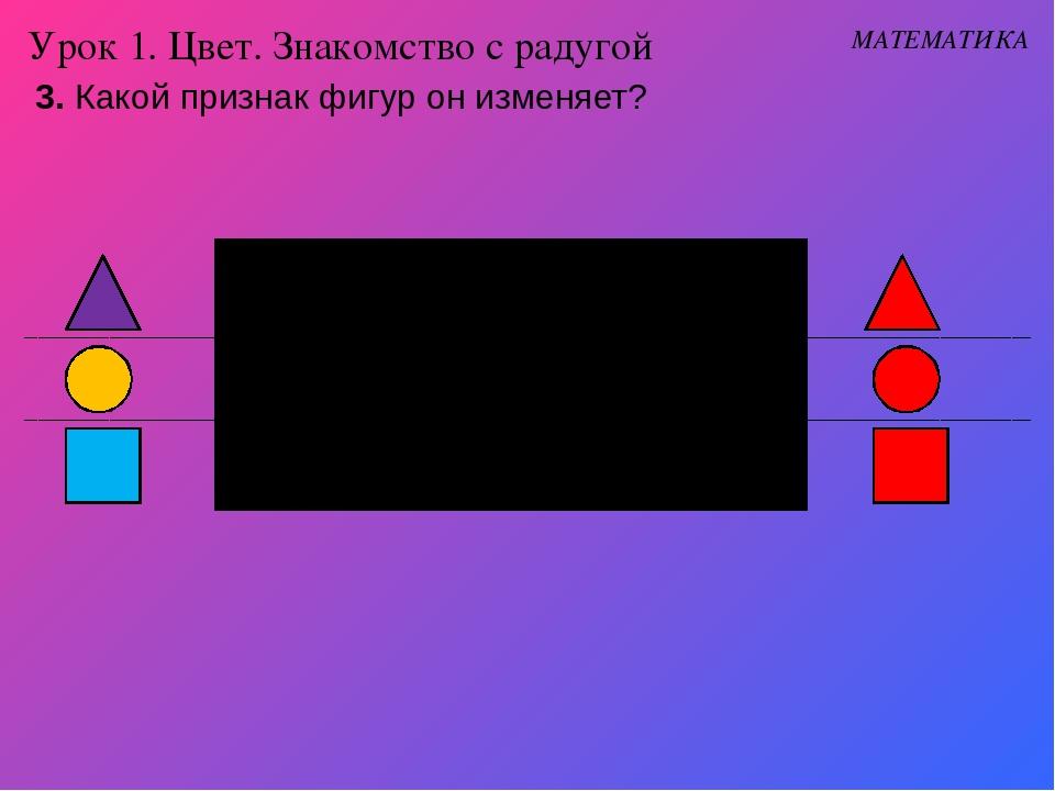 3. Какой признак фигур он изменяет? Урок 1. Цвет. Знакомство с радугой МАТЕМА...