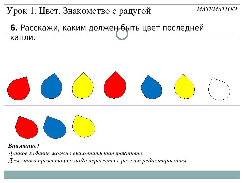 6. Расскажи, каким должен быть цвет последней капли. Урок 1. Цвет. Знакомство...