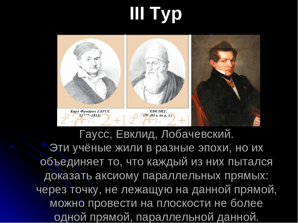 Гаусс, Евклид, Лобачевский. Эти учёные жили в разные эпохи, но их объединяет...