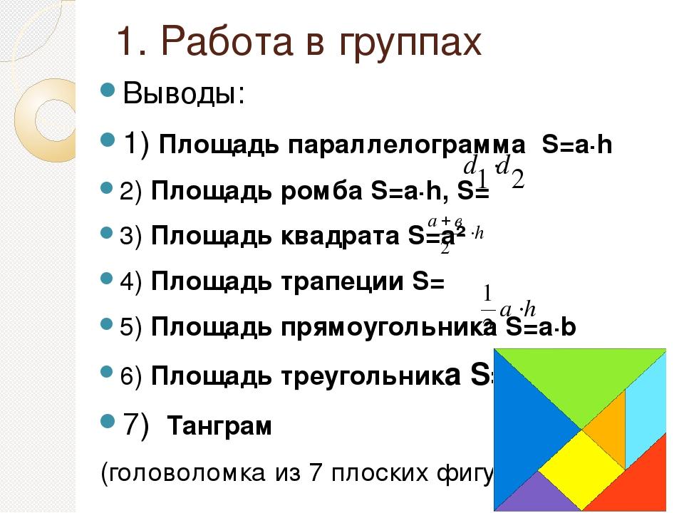 1. Работа в группах Выводы: 1) Площадь параллелограмма S=а∙h 2) Площадь ромба...