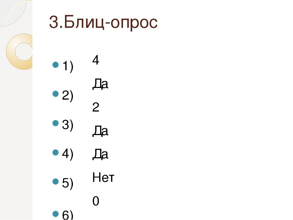 3.Блиц-опрос 1) 2) 3) 4) 5) 6) 7) 4 Да 2 Да Да Нет 0