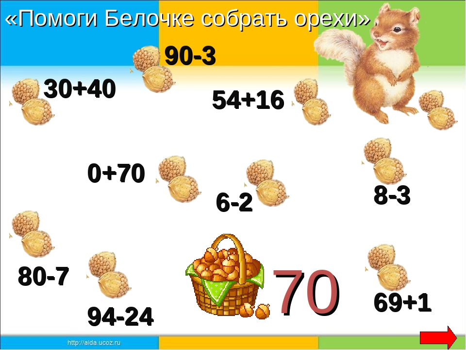 70 30+40 90-3 54+16 0+70 80-7 8-3 94-24 69+1 6-2 «Помоги Белочке собрать орехи»
