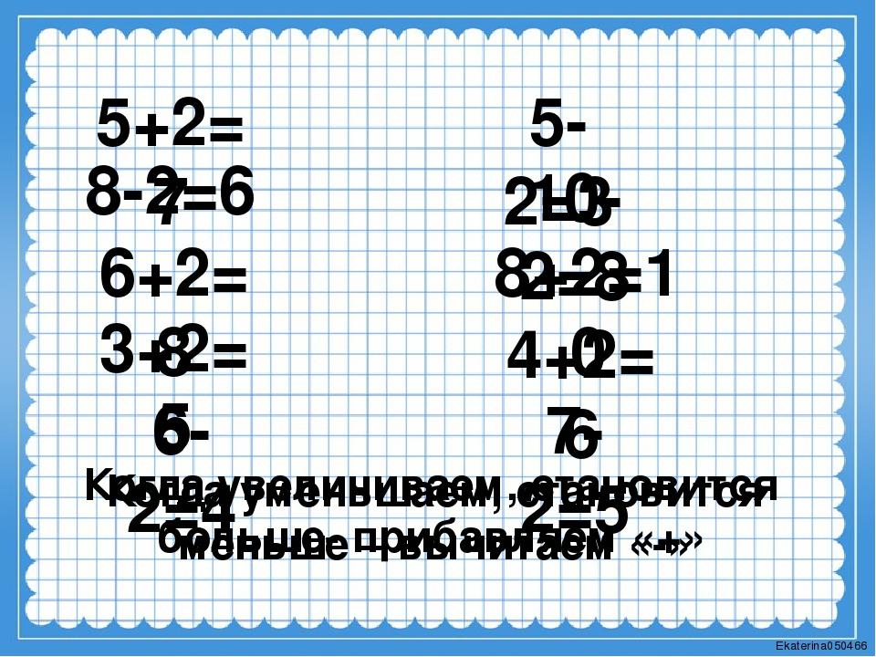5+2=7 8-2=6 6+2=8 3+2=5 6-2=4 5-2=3 10-2=8 8+2=10 4+2=6 7-2=5 Когда увеличива...