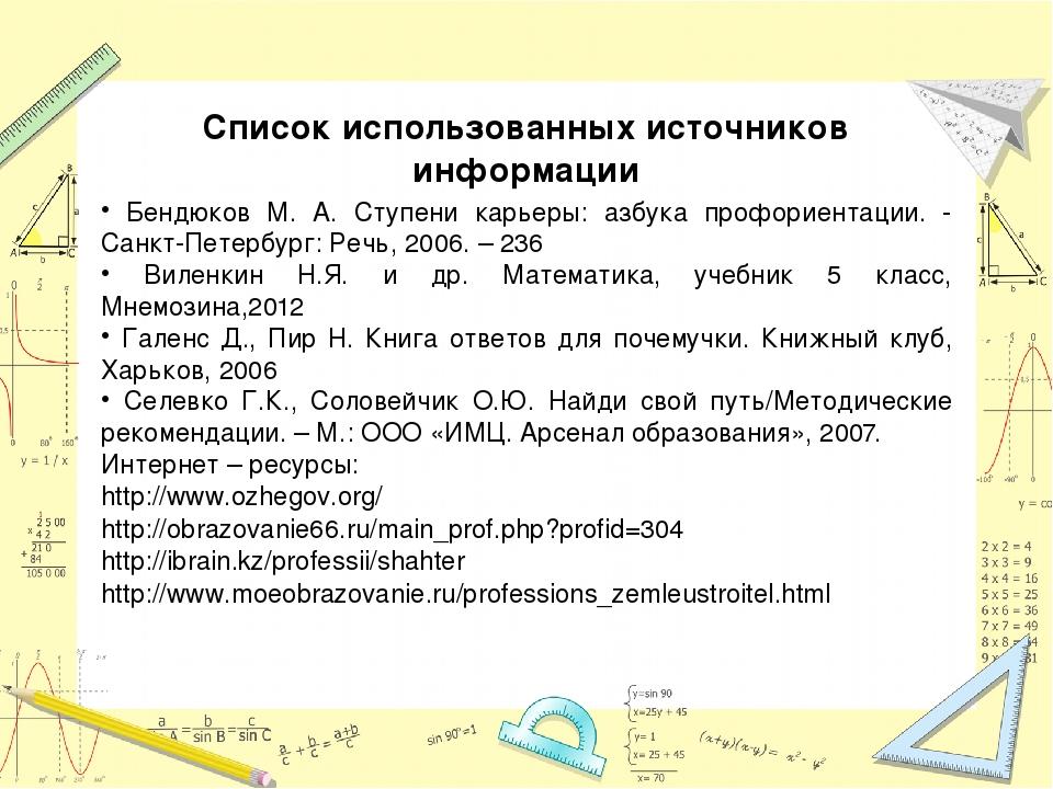 Список использованных источников информации Бендюков М. А. Ступени карьеры: а...