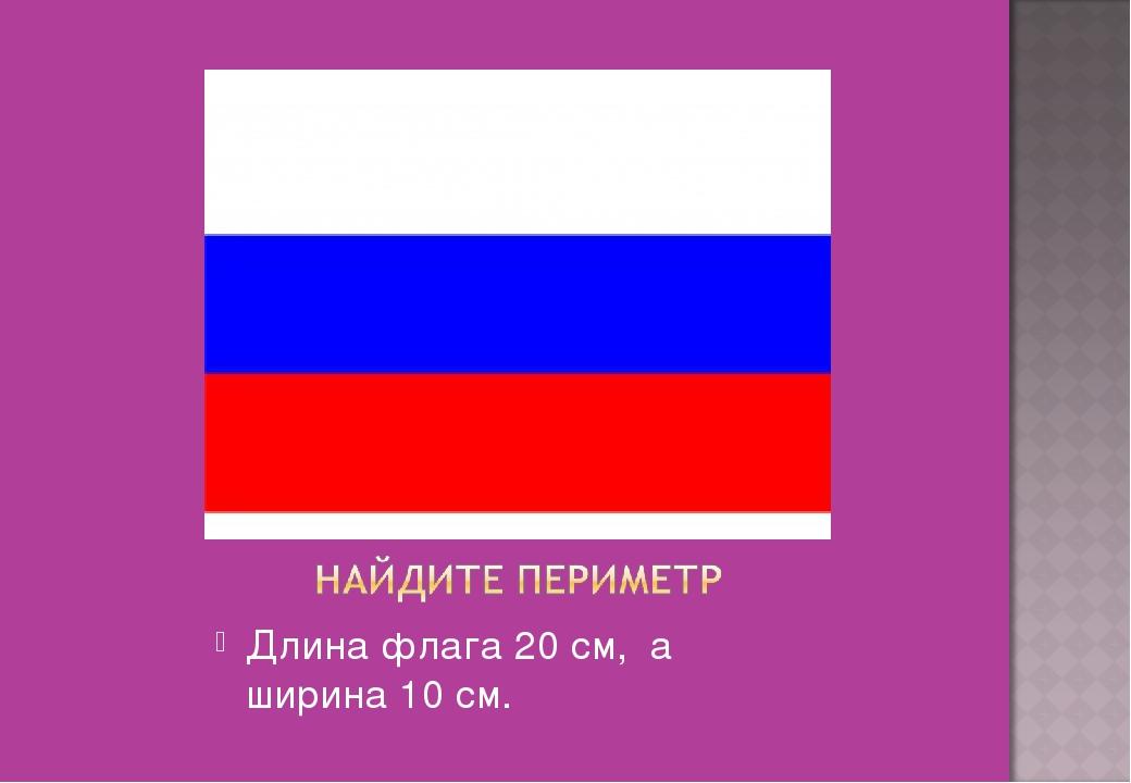 Длина флага 20 см, а ширина 10 см.